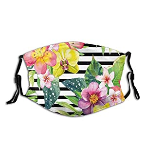 Fillter Face Cloth for Adults,Bouquet with Lily Dahlia Palm Begonia Leaves Orchid Flowers On A Striped Background,Cold Mouth Dustproof Double Protection