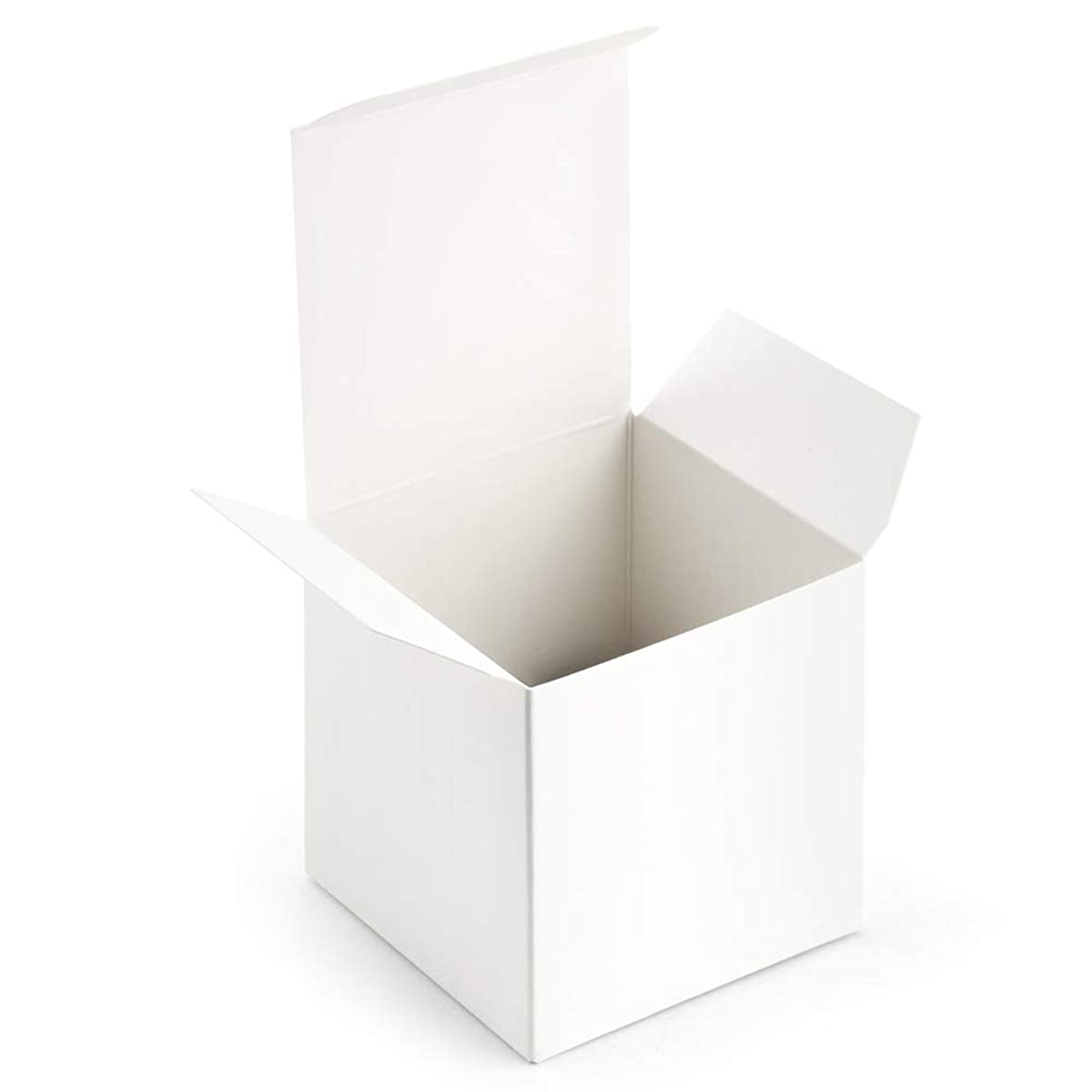 ValBox 3x3x3 White Gift Boxes 50pcs Recycled Paper Cube Boxes with Lids for Gifts, Crafting, Cupcake Boxes   Easy Assemble Boxes for Party Favor