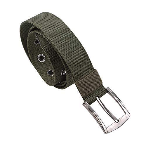 MNSYD Herren Canvas Nylongürtel Verstellbare Taillenschnalle Outdoor Taillengürtel für Camping Wandern Klettern,Armeegrün