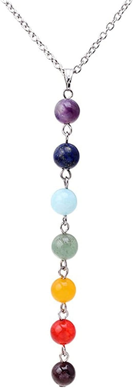 coadipress 7 Chakra Necklace for Women Girls Fashion Personalized Lava Rock Stone Beads Yoga Reiki Healing Energy Balancing Crystals Pendant Necklace Jewelry Birthday Gifts