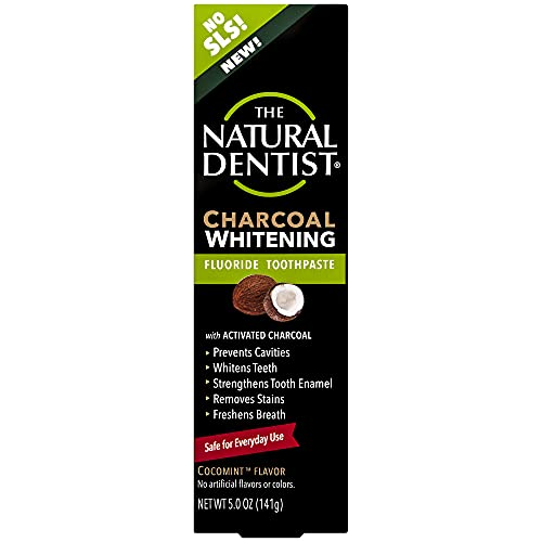 Natural Dentist Charcoal Whitening Fluoride Toothpaste, 5 Ounce Tube