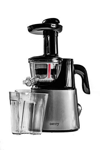 Camry CR4120 Licuadora prensado en frío para Verduras y Frutas, Baja Velocidad 70 RPM, Slow Juicer, 2 Recipiente de Jugo y Pulpa, función inversa, 150W, Gris, 5908256839496
