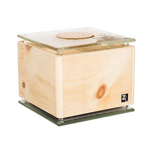 ZirbenLüfter ® Cube Rondo Glass Gold für ca. 40 m2 | Luftbefeuchter | Luftreiniger aus Zirbenholz | abgerundete Ecken | Boden-Abdeckplatte aus Fusinglas mit Echtgoldspirale