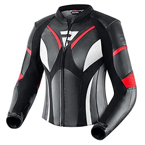 REBELHORN Rebel Motorradjacke für Frauen Rindsleder Ellbogen Schultern und Rückenprotektor Belüftung 4 Taschen Reflektierende Elemente