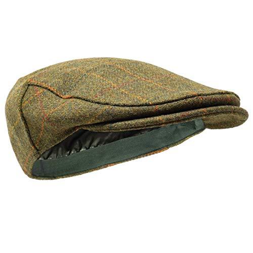 Borges & Scott Woodsman Schirmmütze - Vollständig wasserdicht – Schiebermütze aus Yorkshire Tweed - Außenmaterial aus 100{05bbcff394da1406c8255ec12c638cc994ff76d1fc1686cc9364284df063e510} Wolle - Gold Karomuster 56cm