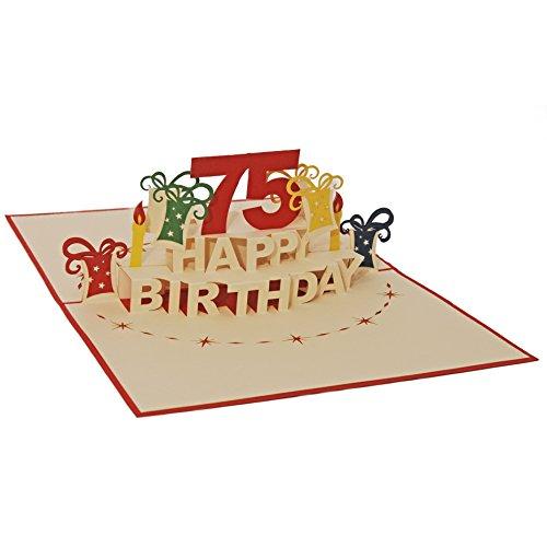 Favour Pop Up Glückwunschkarte zum runden 75. Geburtstag. Ein filigranes Kunstwerk, das sich beim Öffnen als Geburtstagstorte entfaltet. ALTA75R