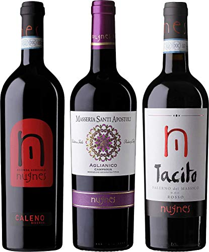 Agricola Vini Nugnes Rossi Nugnes - 2 Falerno del Massico Rosso DOC, 1 Aglianico IGT - Pacco da 3 x 750 ml