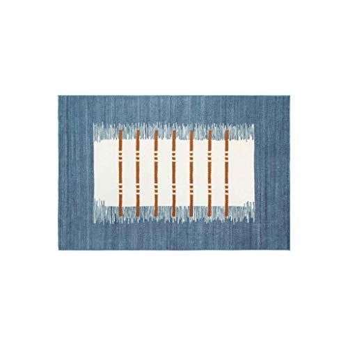 Tapis JXLBB Polyesterer Simple Moderne Encre Bleu Géométrique Indien À La Maison Nordique Tatami 1.4x2m Salon Chambre