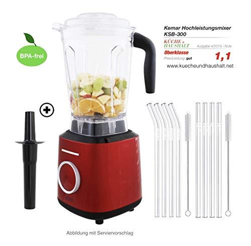 KeMar Kitchenware KSB-300R Standmixer   Hochleistungsmixer   Mixer   Touch Bedienung   2 Liter   BPA-frei  6 Programme (Rot Metallic) SET mit 8 Glastrinkhalmen