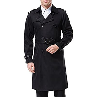 AOWOFS Men's Trench Coat Long Double Breasted Slim Fit Overcoat Jacket Military Trench Coat with Belt