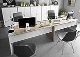 Miroytengo Pack Muebles despacho Completo Moderno 2 mesas Escritorio con Buck 5 armarios Color Blanco y Roble