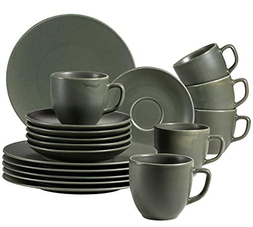 MÄSER Happy Valley 931862 - Servizio da caffè per 6 persone, in stile vintage, 18 pezzi, colore: Verde oliva, porcellana