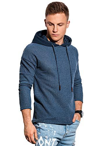 Ombre Camiseta de manga larga para hombre con capucha, 80 % algodón, 20 % poliéster. Camiseta ligera de estilo urbano con capucha decorativa de punto estructurado y cordón. azul XL