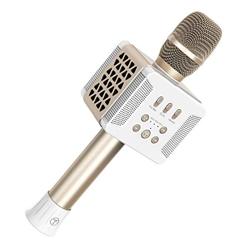 TOSING 016 Wireless 20W Bluetooth Karaoke Microphone,3-in-1 Portable Handheld Karaoke Mic Home Party Birthday Speaker Machine Compatible for Smartphone/Android/iso System/Tablet/PC(Gold)
