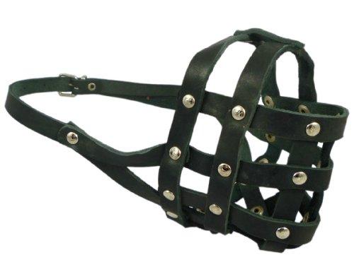 Genuine Leather Dog Basket Dog Muzzle #110 Black - Bulldog, Boxer...