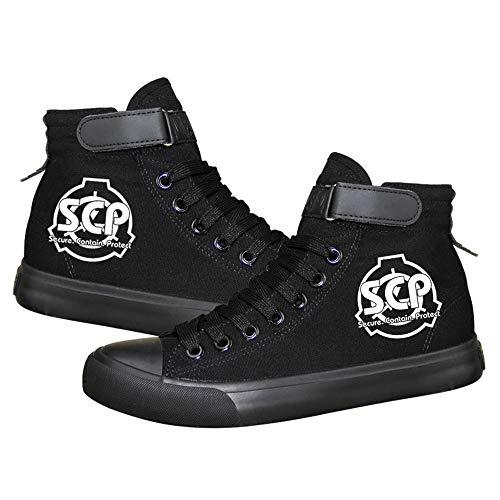 NIEWEI-YI SCP Foundation Print Espadrillas High Top Sneakers in Tela Scarpe Casual,38 EU