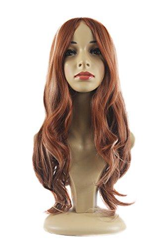 Xiaoyu mode marron et beige mélangé perruque longue cheveux bouclés
