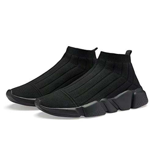 Voxge Women's Sock Sneakers Men Sock Shoes Lightweight Breathable Athletic Running Shoes Fashion Tennis Sport Walking Shoes Full Black 046-38