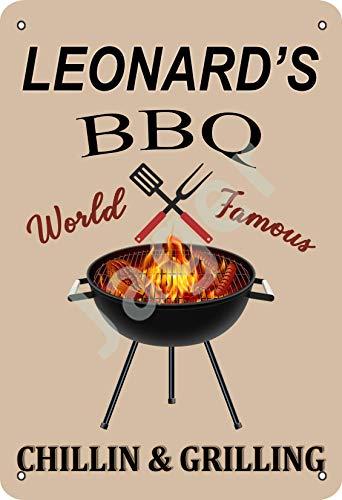 Leonard's Bbq World Famous Chillin And Grilling Signe d'étain affiche en métal panneau d'avertissement rétro plaque de fer plaque affiche vintage chambre mur de la maison en aluminium art décoration