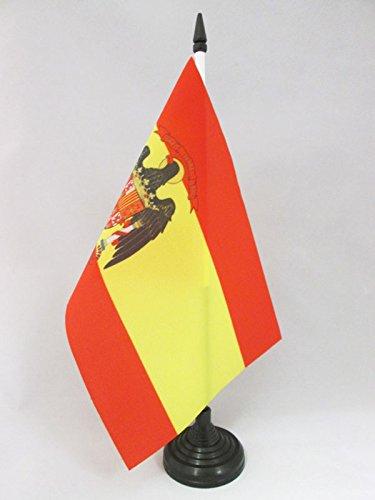 AZ FLAG Bandera de Mesa de ESPAÑA 1977-1981 21x14cm - BANDERINA de DESPACHO ESPAÑOLA con Aguila 14 x 21 cm