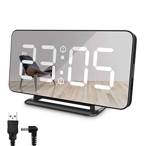 Nakeey Digitale led-wekker, zonder tikken met USB-oplaadpoort, dual alarm, snooze, 3-traps helderheidscontrole, temperatuurweergave, spiegel, tafelklok, nachtkastje, slaapkamer Digitale wekker, zwart.