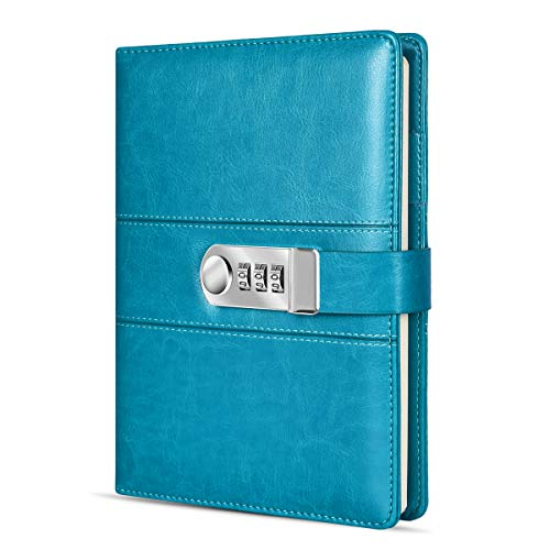 ARRLSDB A5 PU Leather Diary with Lock, Journal with Combination Lock Password Journal Locking Journal Diary (Sky Blue)