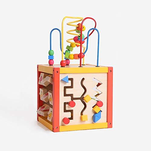 Juguetes educativos interactivos de cubo de actividad para bebés de 1 a 6 años, juego de laberinto de cuentas de juguete de madera, tablero de escritura de graffiti, juguetes a juego de formas geométr
