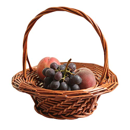 S-AIM Wicker Basket Woven Picnic Basket Empty Willow Storage Basket with Double Handles Fruit Serving Baskets Easter Basket