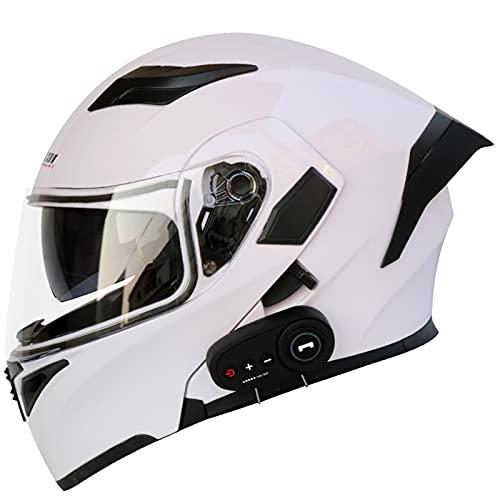Casco de Moto Modulares Bluetooth Integrado con Doble Anti Niebla Visera Cascos de Motocicleta ECE Homologado Cascos de Motocross para Adultos Hombres Mujeres 4,L