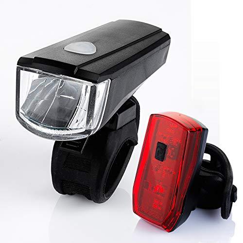 Licorne Bike Fahrradlicht Batterie Leuchte StVZO Beleuchtungsset Fahrradbeleuchtung Vorderlampe Hinterlampe LED Fahrradlicht inklusive Batterien.