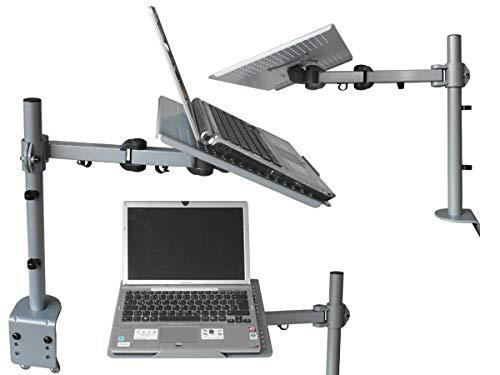 DRALL INSTRUMENTS Universal Tischhalterung Halterung für Laptop Notebook Netbook Tablet PC - 10kg belastbar - neigbar schwenkbar höhenverstellbar - Laptophalter Tisch Ständer silber grau Modell: LT10S