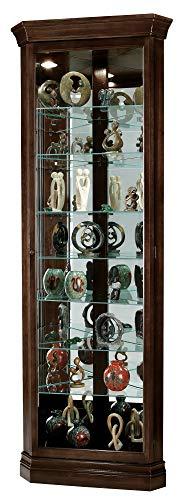 Howard Miller Dustin Curio Cabinet 680-484 – Espresso Finish, Vertical Home Decor, Seven Glass Shelves, Eight Level Display Case, Locking Door, No Reach Light
