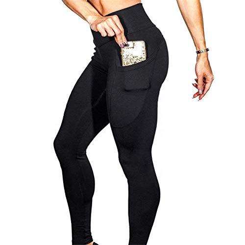 Bossoshe Adelgazantes Elásticos Secado rápido Leggins-Pantalones de Yoga de Abdomen de Alta Cintura, Medias Suaves Transpirables-Negro_L
