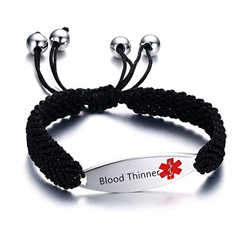 NineJewelry Free Engraving Adjustable Medical Alert Bracelets - Emergency ID Bracelets for Men Women Kids - Stainless Steel Braided Rope Bracelet