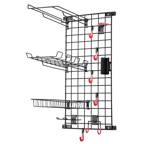 Mythinglogic Sports Equipment Storage System, Wall Mount Garage Storage Shelves for Sports Gear and Bike, Ball Storage Racks with 6 Hanging Hooks,Garage Storage Organizer (Matt Black)