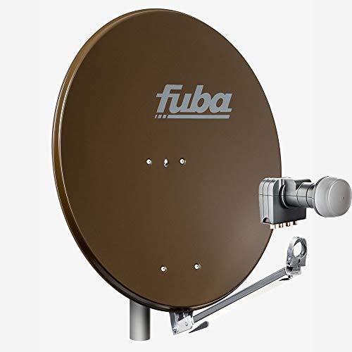 Fuba 4 Teilnehmer Sat Anlage DAL 804 B | Sat Komplettanlage mit Fuba DAL 800 B Alu Sat-Schüssel/Sat-Spiegel braun + Fuba DEK 417 Quad LNB für 4 Receiver/Teilnehmer (HDTV-, 4K- und 3D-kompatibel)