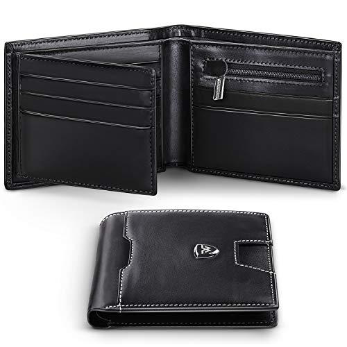 Portafoglio di Pelle con 14 slot per schede e cerniera posteriore per le note Marrone RFID PROTECTED