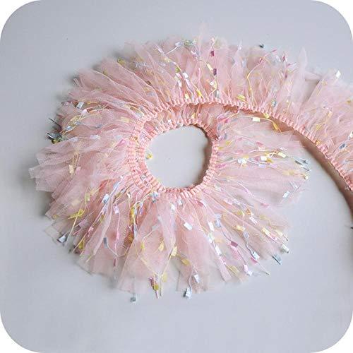 10cm brede snoep kleur mesh kwast tule kant stof lijn woondecoratie accessoires rok jurk kleding diy speelgoed pop naaien, roze, 1 meter
