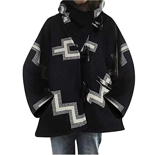 EVANGELIA.YM 여성 복고풍 자켓 코트 아웃웨어 호른 버클 버클 여행 스타일 가을 겨울 따뜻한 느슨한 망토 윈드 브레이커