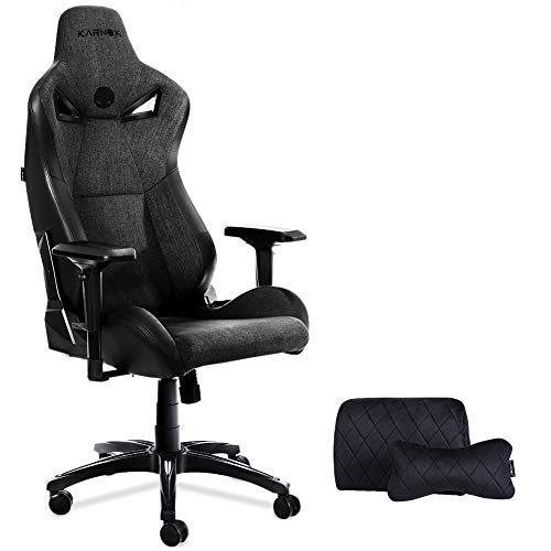 KARNOX Legend-TR New Breathable Soft Cloth Gaming Chair with 155º Recline Racing Chair High Back and Ergonomic Style Swivel Chair with Headrest and Lumbar Support(LegendTR- Dark Grey)