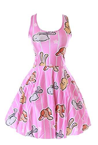 Kawaii-Story SK-1147 Rosa Hase Bunny Rabbit Sterne Bunt Pastel Goth Print Kleid Dress Japan Harajuku Gr. S-M