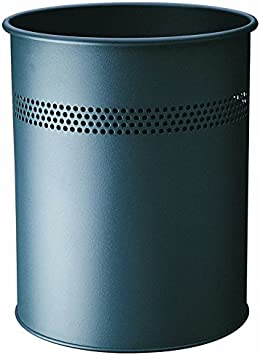 antracita Durable 330058 Cesto de basura redondo de metal 15 litros perforaci/ón 30 mm