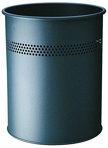 Durable 330058 Papierkorb Metall rund, 15 Liter, Perforation 30 mm, anthrazit
