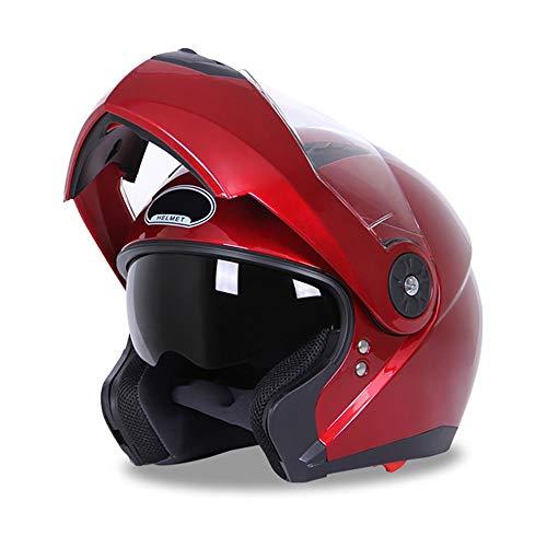 Casco De La Motocicleta Casco Abierto Protección Protector Solar Antivaho De Media Cara Doble Lente Cubierta Facial Completa Tipo Visera De Cuatro Estaciones Dot/ECE Certificado ✅