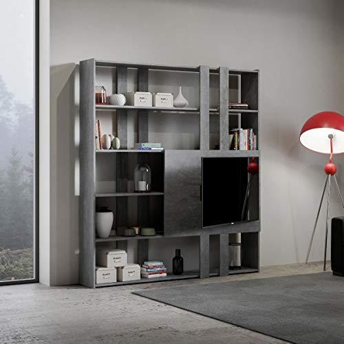 Libreria Composizione H Kato 6R 2 fianchi 2 fasce lunghe 2 fasce corte 2 fasce medie pannello TV Cemento