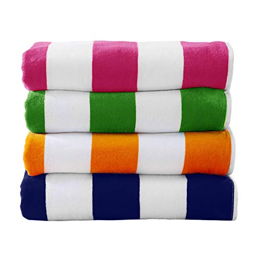 """4 Pack Plush Velour 100% Cotton Beach Towels. Cabana Stripe Pool Towels for Adults. (Multi-Color 1, 4 Pack- 30"""" x 60"""")"""