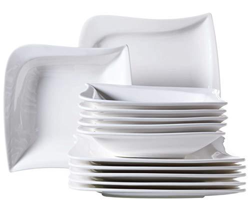 Mäser Serie La Musica, Tafelservice 12-teilig, für 6 Personen, Porzellan, weiß, 26 x 26 x 2 cm, Einheiten