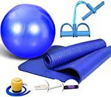 JSY Kit de Fitness de Yoga Bola de Yoga Alfombra de Yoga Tirar Cuerda látex Abdominal Entrenador Pilates Bola Estera Fijar Unisex para el Gimnasio casero Bolsas para colchoneta (Color : Blue)