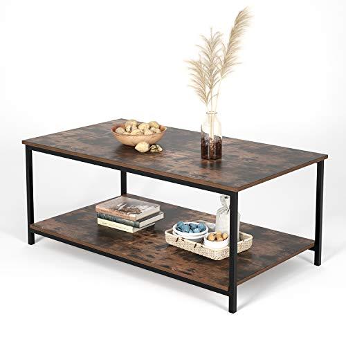 Homfa Couchtisch mit Metallgestell Holz Wohnzimmertisch Vintage Design schwarz