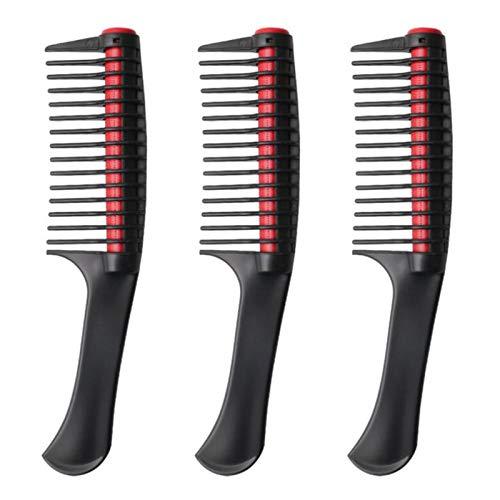 Cerolopy Peine de pelo para desenredar, peine de rodillo integrado, peine antiempalme para tinte de pelo de salón (negro).